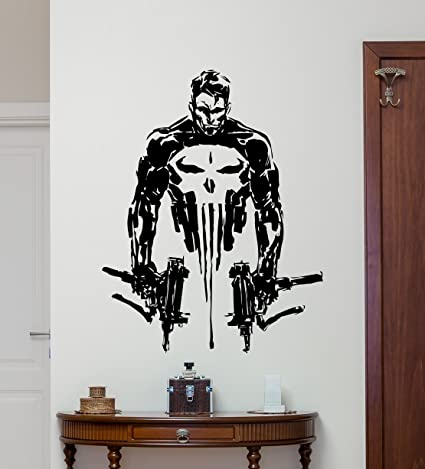 CarolGreyDecals Punisher Wall Vinyl Decal Marvel Superhero Wall Sticker  Video Game Gaming Wall Decor Cool Wall