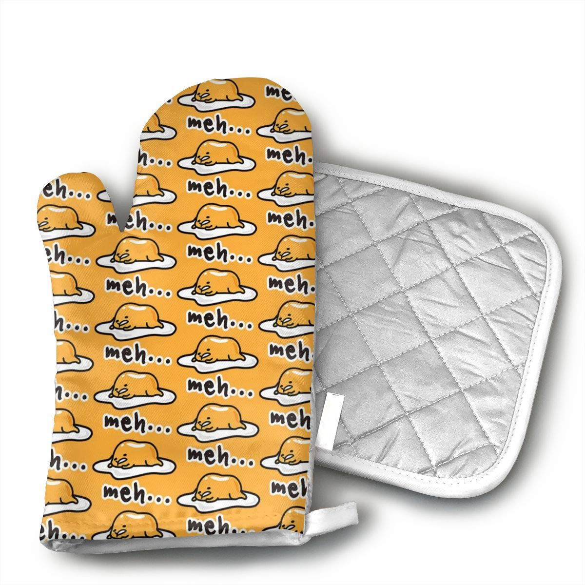 FUNINDIY Oven Mitts and Pot Holder Set Heat Resistant Oven Gloves with Non-Slip Grip and Hanging Loop Gudetama Cute