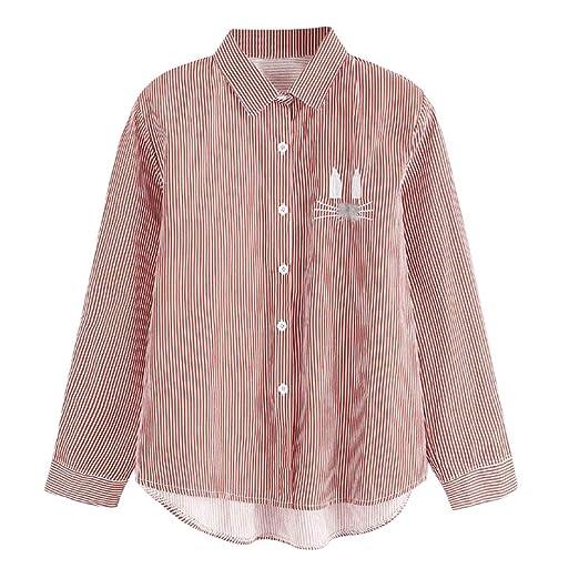 48c3c1f99d Women Long Sleeve Cute Animal Print Top Stripe Button Down T Shirt Casual  Blouse at Amazon Women s Clothing store