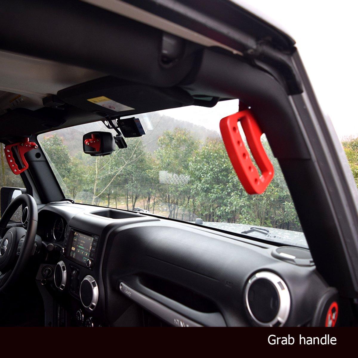 . Black, Front Pair ICARS 2007-2018 JK JKU Jeep Wrangler Aluminum Grab Handles for Unlimited Rubicon Sahara Accessories