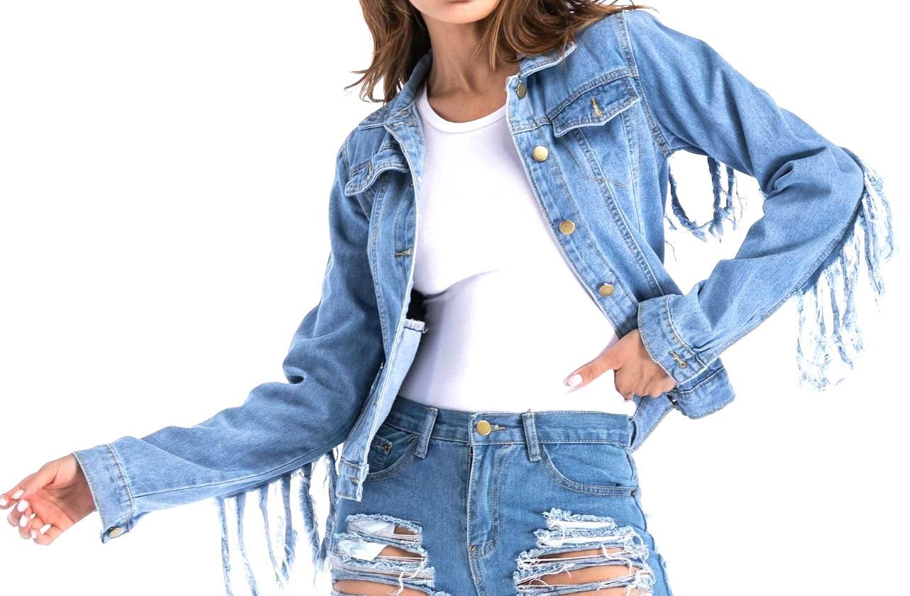 Abetteric Women Oversized Fringe Rugged Wear Jean Jacket with Pockets Blue 4XL