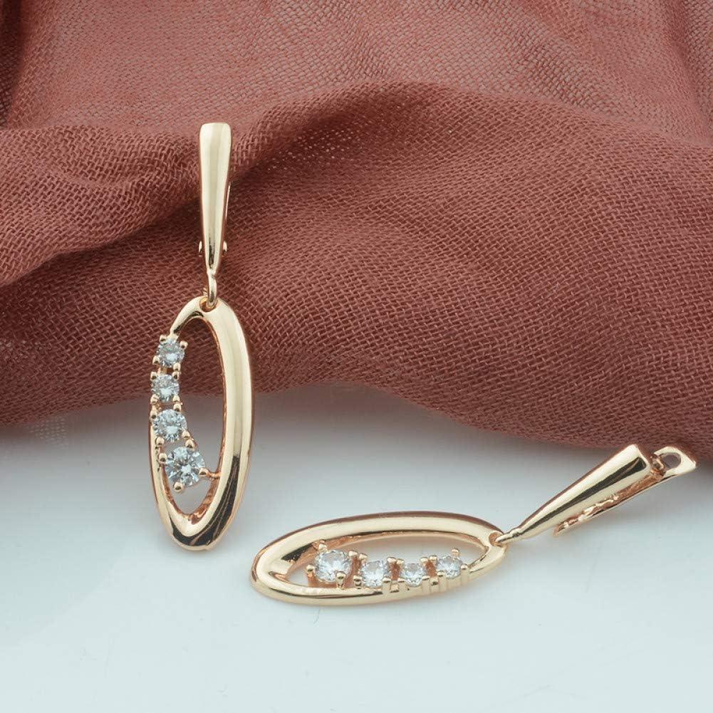 ZHQJY Pendientes ColgantesRedondos ovalados de Cuatro Piezas enColor Oro RosaCristal de Mujer