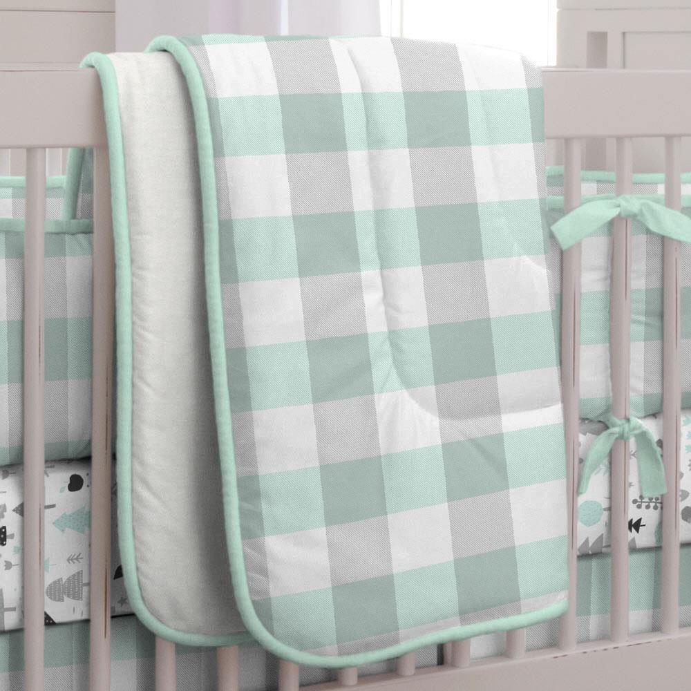 Carousel Designs Mint and Gray Buffalo Check Crib Comforter