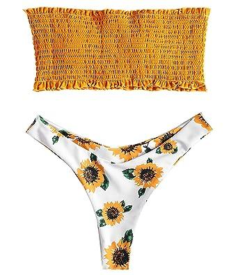 76170fc556 Amazon.com: ZAFUL Strapless Bandeau Smocked Sunflower Shirred Swimwear  Bikini Top Floral Bottoms: Clothing