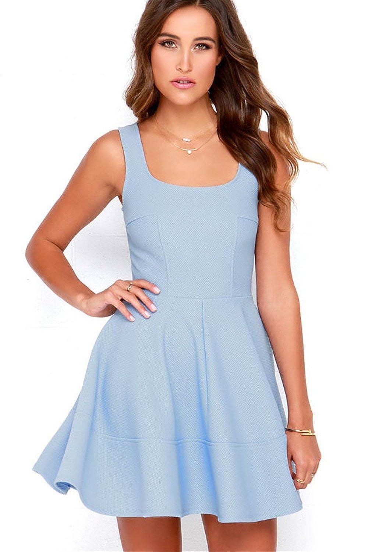 Fenghuavip Elegant Strap Baby Blue Short Evening Party Dress for Women