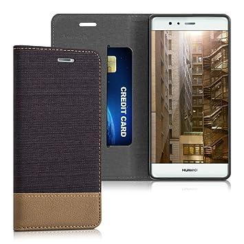 kwmobile Funda para Huawei P9 - Carcasa de [Tela] y [Cuero sintético] - Case con [Soporte] en [Antracita/marrón]