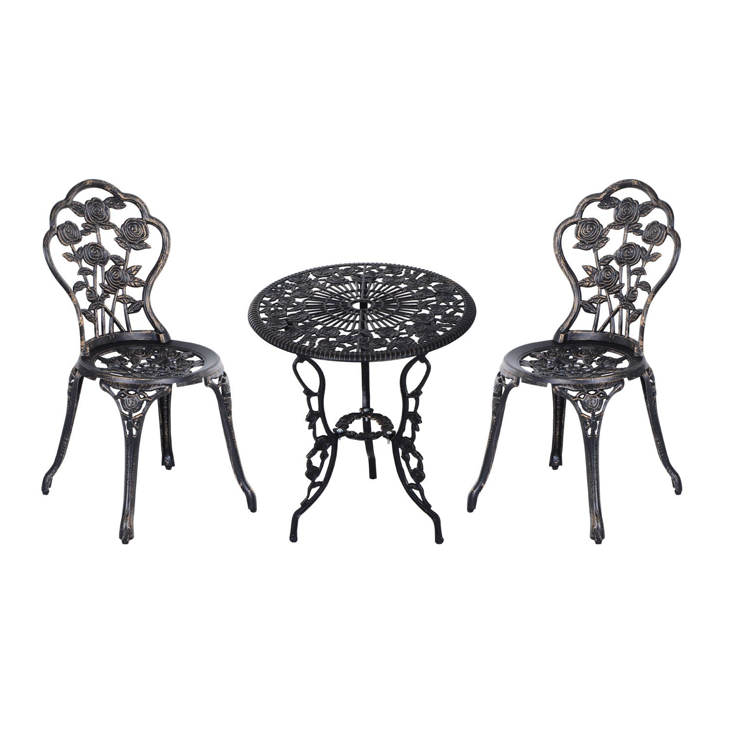 Outsunny 3 Piece Antique Style Outdoor Patio Bistro Dining Set - Bronze