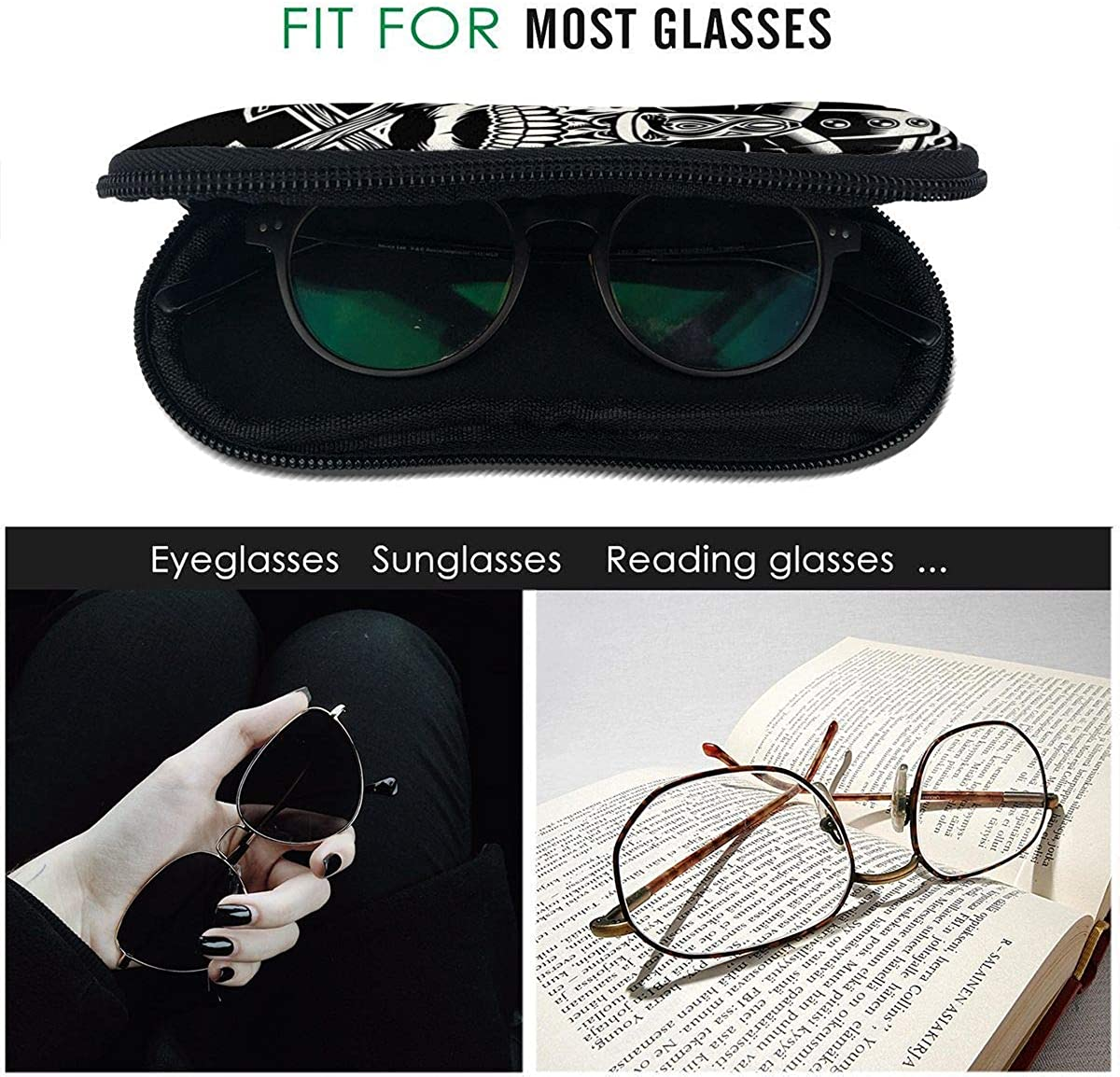 HHJJI Sonnenbrille Soft Case Ultraleichter Neoprensch/ädel des Wikinger-Kriegers mit gekreuzten /Äxten Rei/ßverschluss Brillenetui mit G/ürtelclip