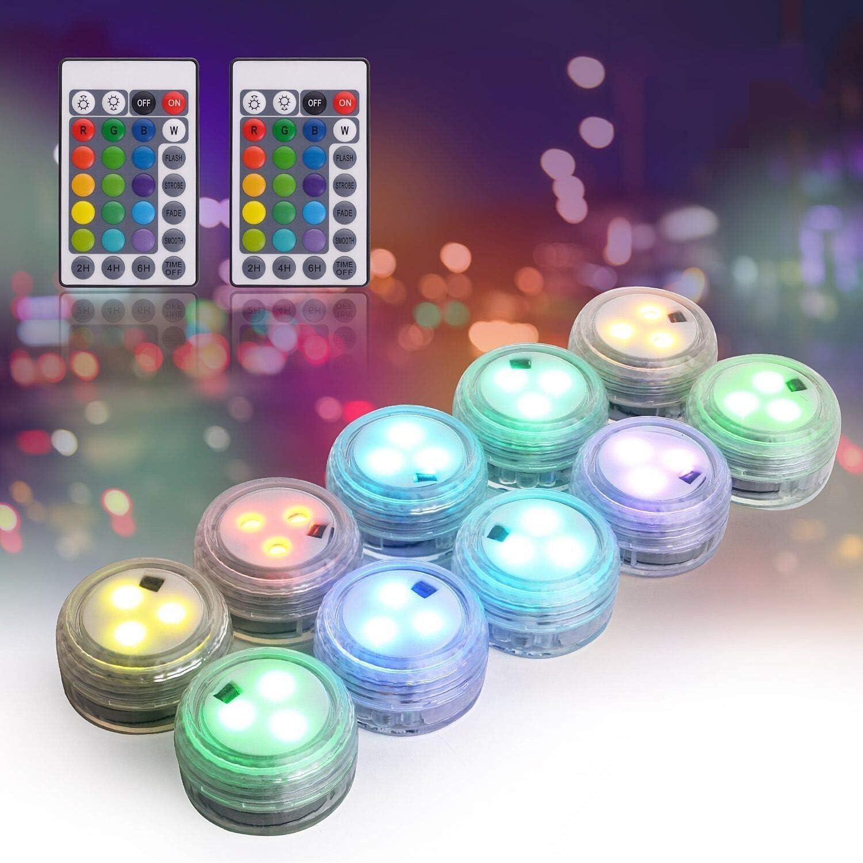 Herefun Mini LED Luz Sumergible, 10 Piezas Luces de Piscina LED Sumergible Control Remoto Bajo el Agua Lámpara Subacuática Para Estanque Vaso Jarrón Estanque Piscina Boda Navidad Fiesta Decoración