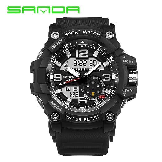 Funnyrunstore Sanda 759 Marca de Lujo Reloj LED Digital Militar Shock multifunción Reloj de Pulsera 30m