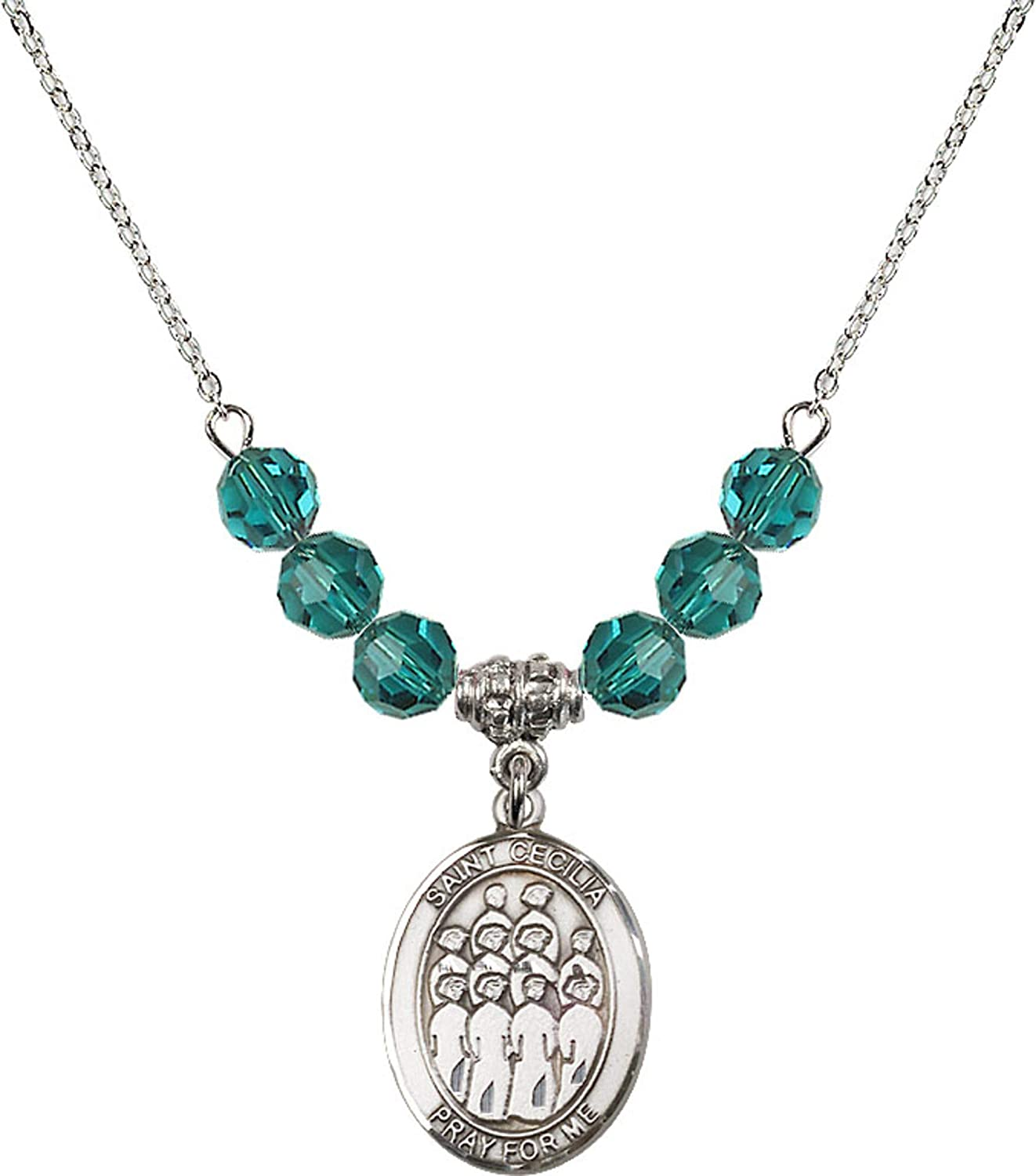 Bonyak Jewelry 18 Inch Rhodium Plated Necklace w// 6mm Blue December Birth Month Stone Beads and Saint Cecilia//Choir Charm