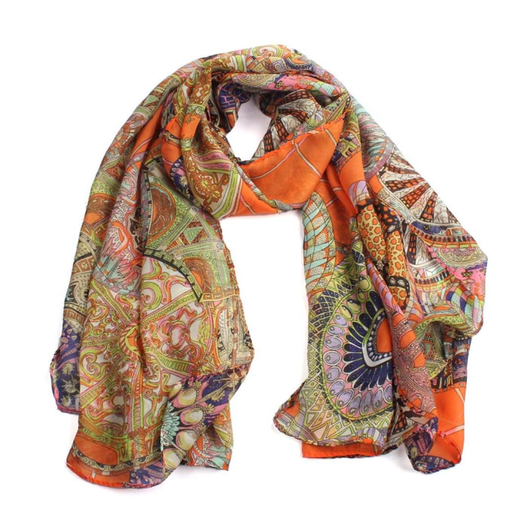 Wheel pattern scarf , Amamary88 Fashion Women Girl Chiffon Printed Silk Scarf Amamary88 Fashion Women Girl Chiffon Printed Silk Long Soft Scarf Shawl Scarf (Orange)