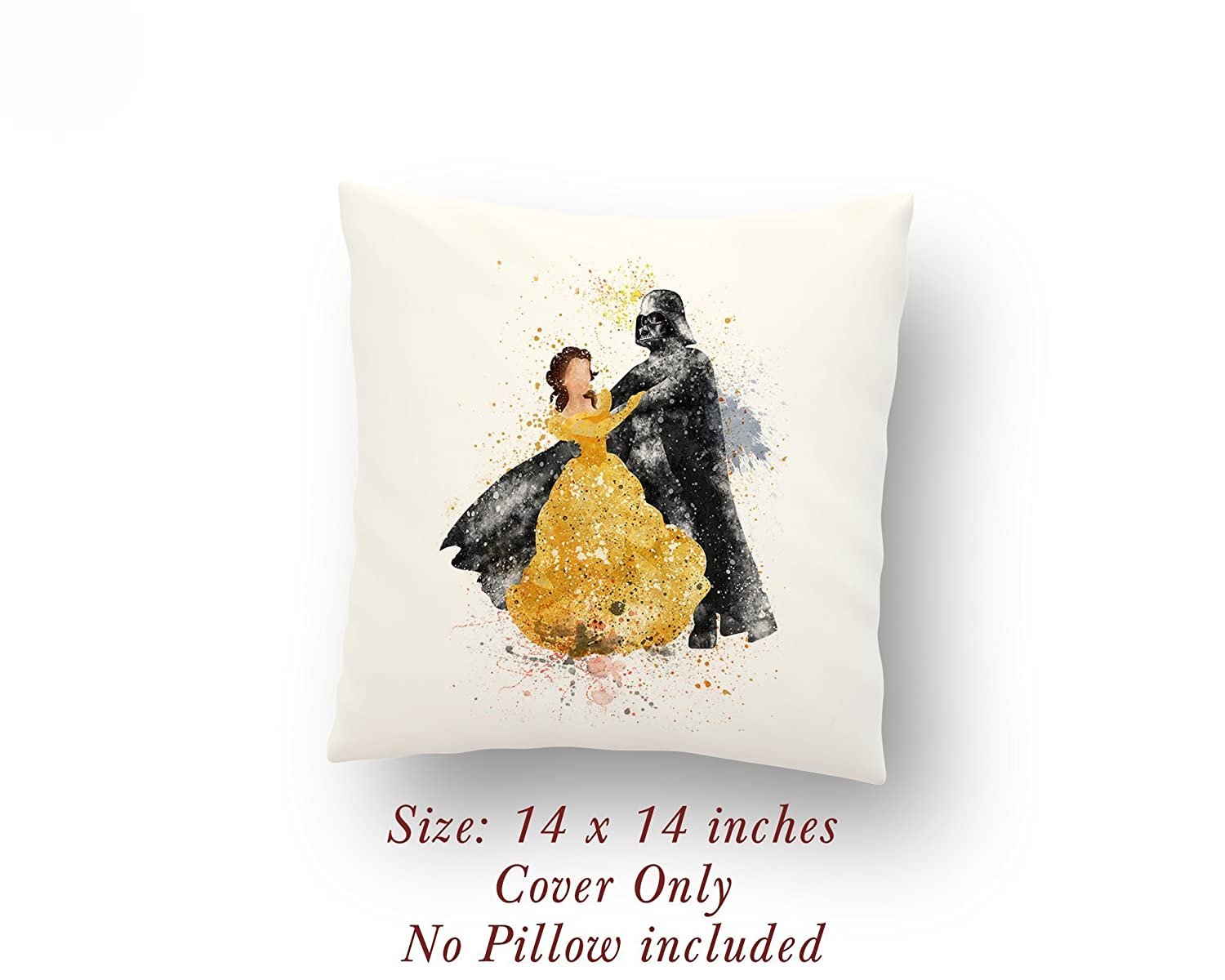 B07389R8JD Star Wars Darth Vader and Belle Beauty and the Beast 14 x 14 inches Pillow Cover 71S50ykbuTL