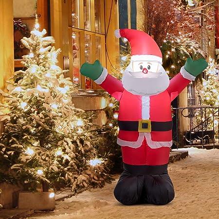Light Up Outdoor Christmas Decorations.Costway 1 2m Inflatable Christmas Santa Decoration Light Up Indoor Outdoor Xmas Gift 1 2m Waving Santa