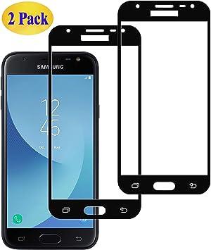 Eachy Compatible con Cristal Templado Samsung Galaxy J3 2017 Vidrio Templado, [2 Unidades] Protector de Pantalla Samsung Galaxy J3 2017(SM-J330) Cobertura Completa 5.0 Pulgadas-Negro: Amazon.es: Electrónica