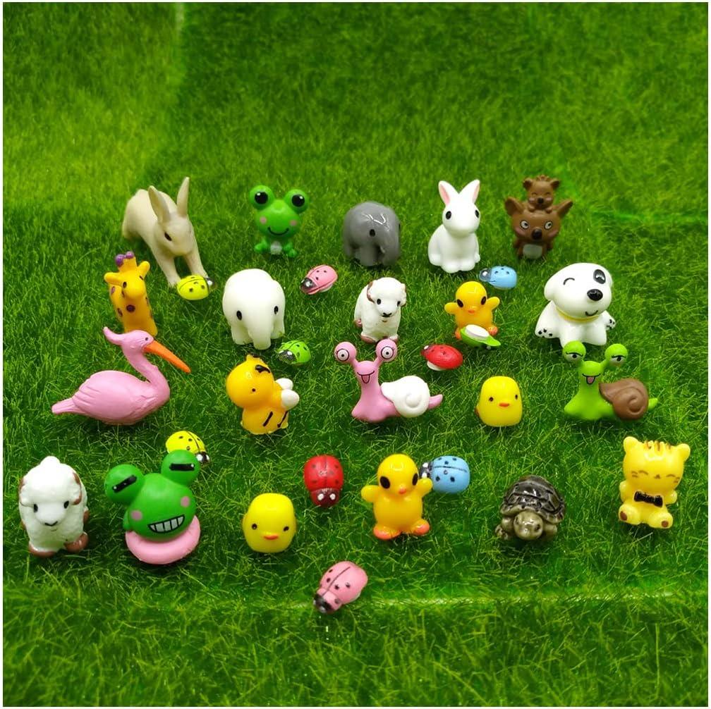 emien 31piezas Mini animales miniatura Adorno Set, Kit de adorno de en miniatura para decoración DIY casa de muñecas jardín de hadas planta decoración