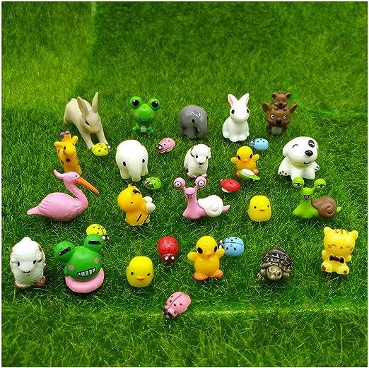 emien 31 piezas Mini animales miniatura Adorno Set, Kit de adorno de en miniatura para decoración DIY casa de muñecas jardín de hadas planta decoración: Amazon.es: Jardín