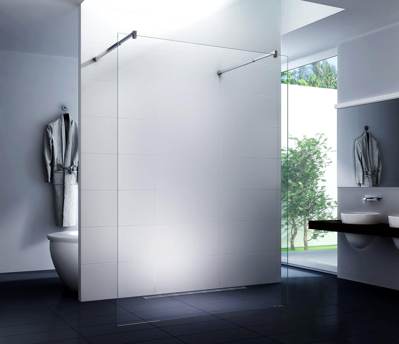Caraselle – Ducha Pared (Barra en esquina) Walk In Mampara de ducha Cristal de la pared Diwa Clear 10 mm de cristal de seguridad monocapa Cristal Transparente 160 x 200 cm: Amazon.es: