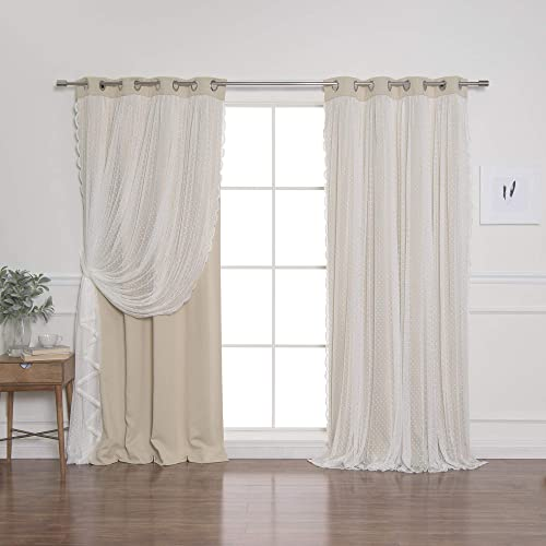 Best Home Fashion Closeout Dotted Lace Overlay Thermal Insulated Blackout Curtains – Stainless Steel Nickel Grommet Top – Beige – 52 W x 96 L – Set of 2 Panels
