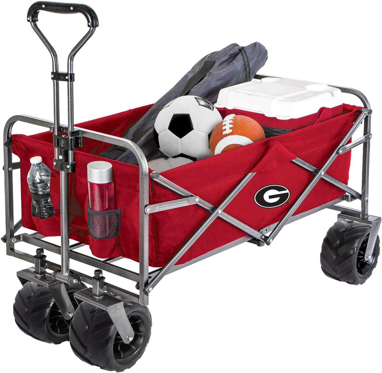 Smart Design Collegiate Heavy-Duty Utility Collapsible Wagon Beach Cart – 20.15 x 35.5 x 22.5 inch – University of Georgia Team Design – Officially Licensed Logo – Black Red Colors – Bulldogs