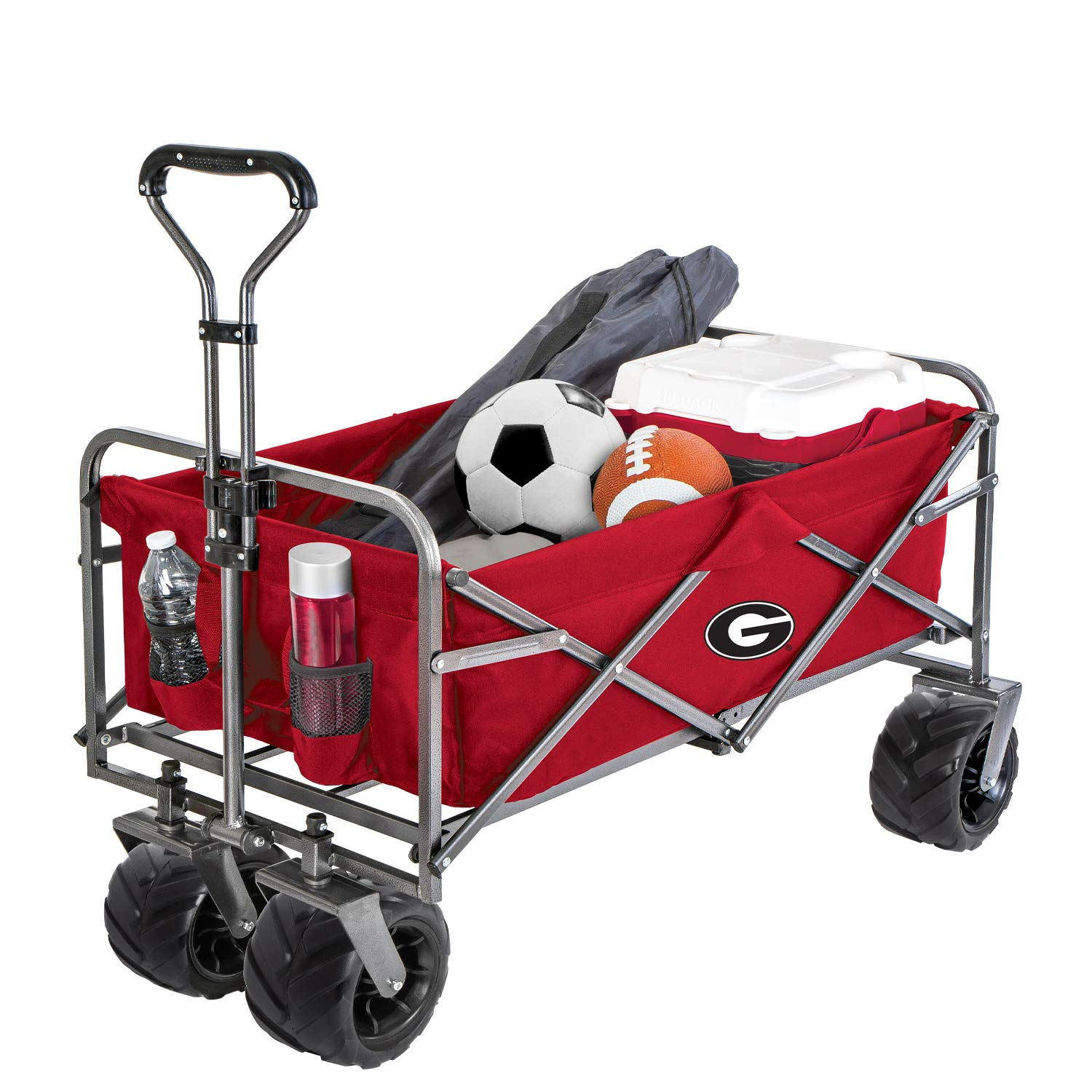 Smart Design Collegiate Heavy-Duty Utility Collapsible Wagon - Beach Cart - 20.15 x 35.5 x 22.5 inch - University of Georgia Team Design - Officially Licensed Logo - Black & Red Colors - [Bulldogs] by Smart Design