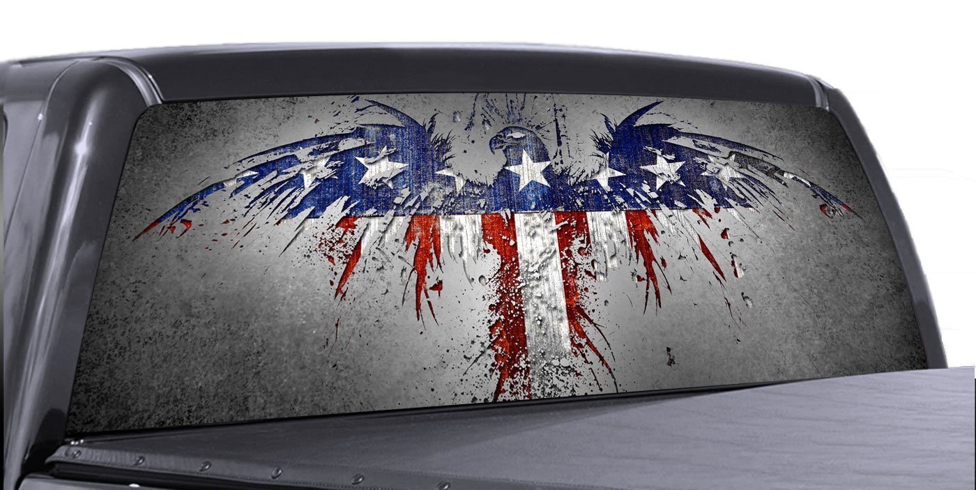 Amazoncom VuScapes AMERICAN PATRIOTIC Rear Window Truck - Rear window hunting decals for trucksamazoncom truck suv whitetail deer hunting rear window graphic