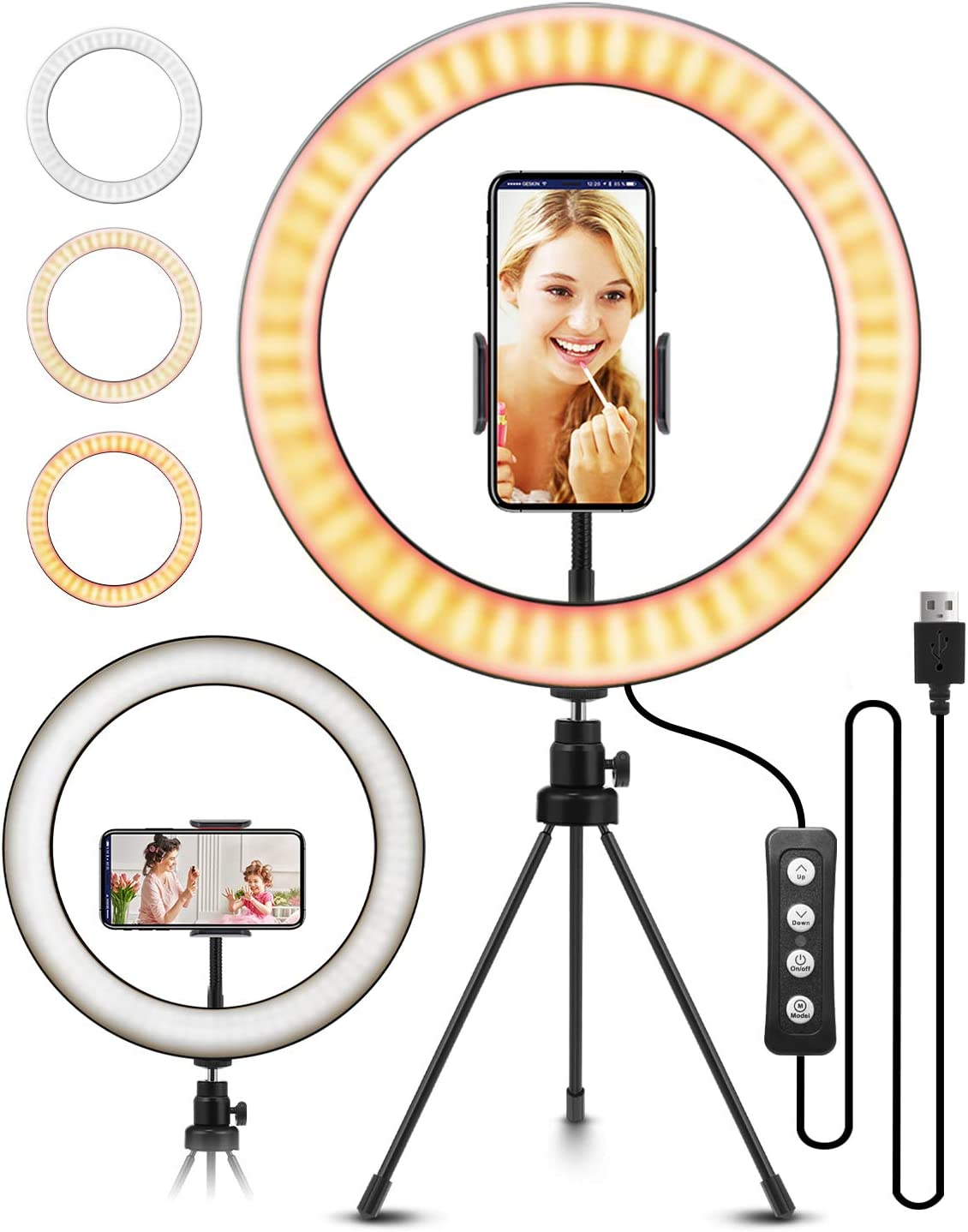 "10.2"" Selfie Ring Light with Tripod Stand, ELEGIANT Ring Light with Cell Phone Holder 3 Light Modes & 11 Brightness Level and 160 Bulbs for YouTube Video Live Stream Makeup Photography"