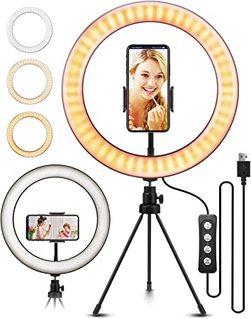Includes Ball Head Phone Clamp and Tripod Ring Lights with Stand,11 Dimmable LED Selfie Light for Makeup YouTube Video Live Streaming Fill Light