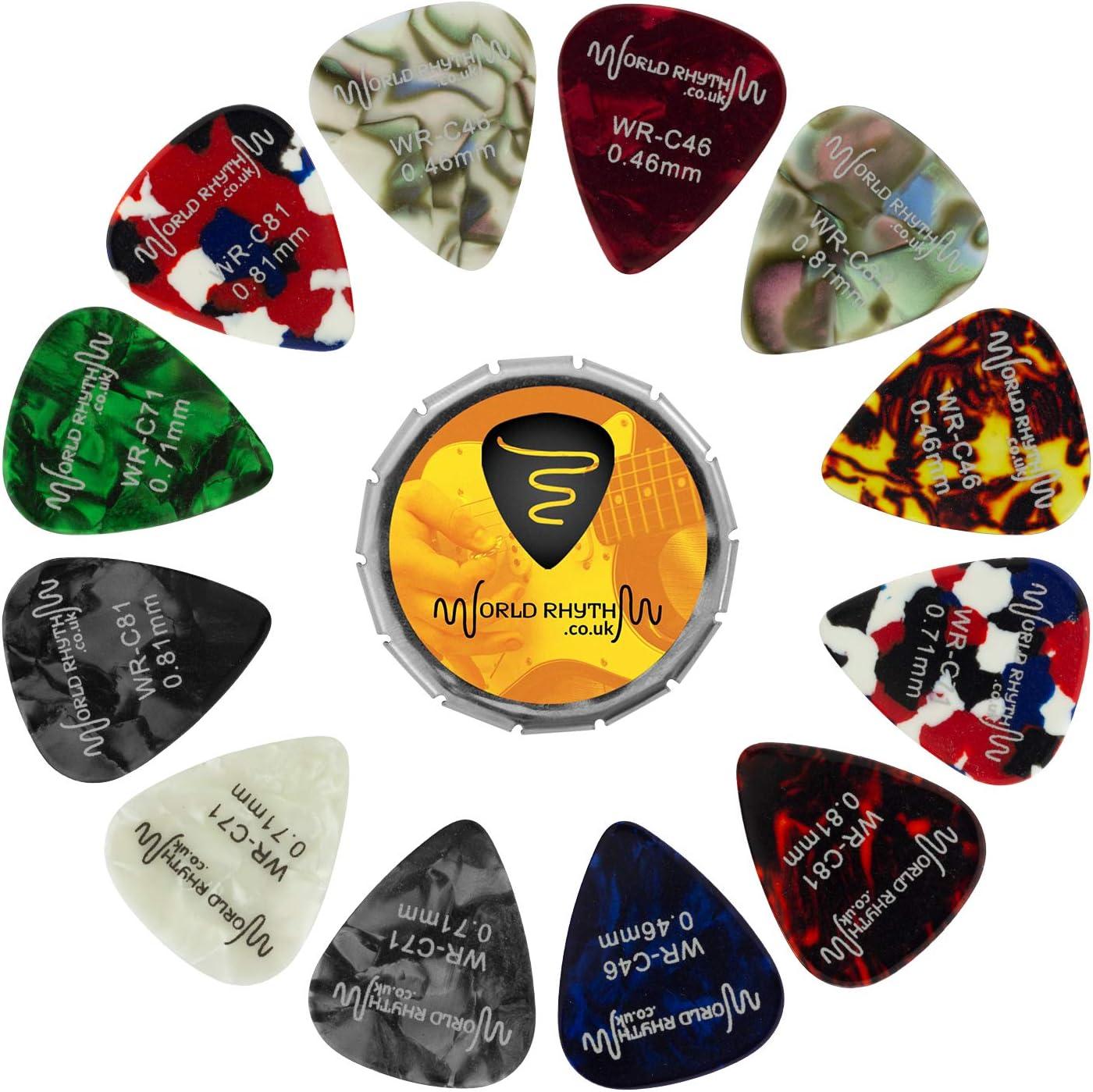 World Rhythm - Juego de púas de guitarra (12 púas de guitarra de calibre mixto, 0,46 mm, 0,71 mm, 0,81 mm)