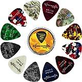 Púas de estaño y púas de guitarra World Rhythm - 12 púas de guitarra de calibre mixto, 0,46 mm, 0,71 mm, 0,81 mm