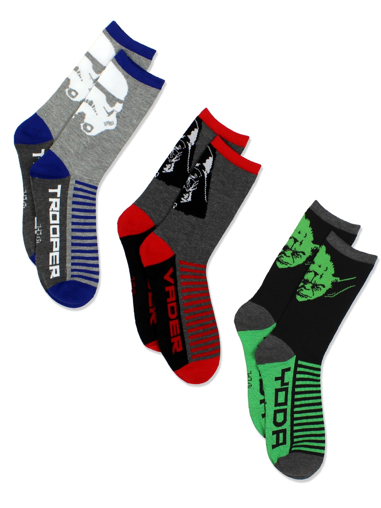Star Wars Boys 3 pack Socks (9-11 Teen (Shoe: 4-10), Grey/Multi Crew)