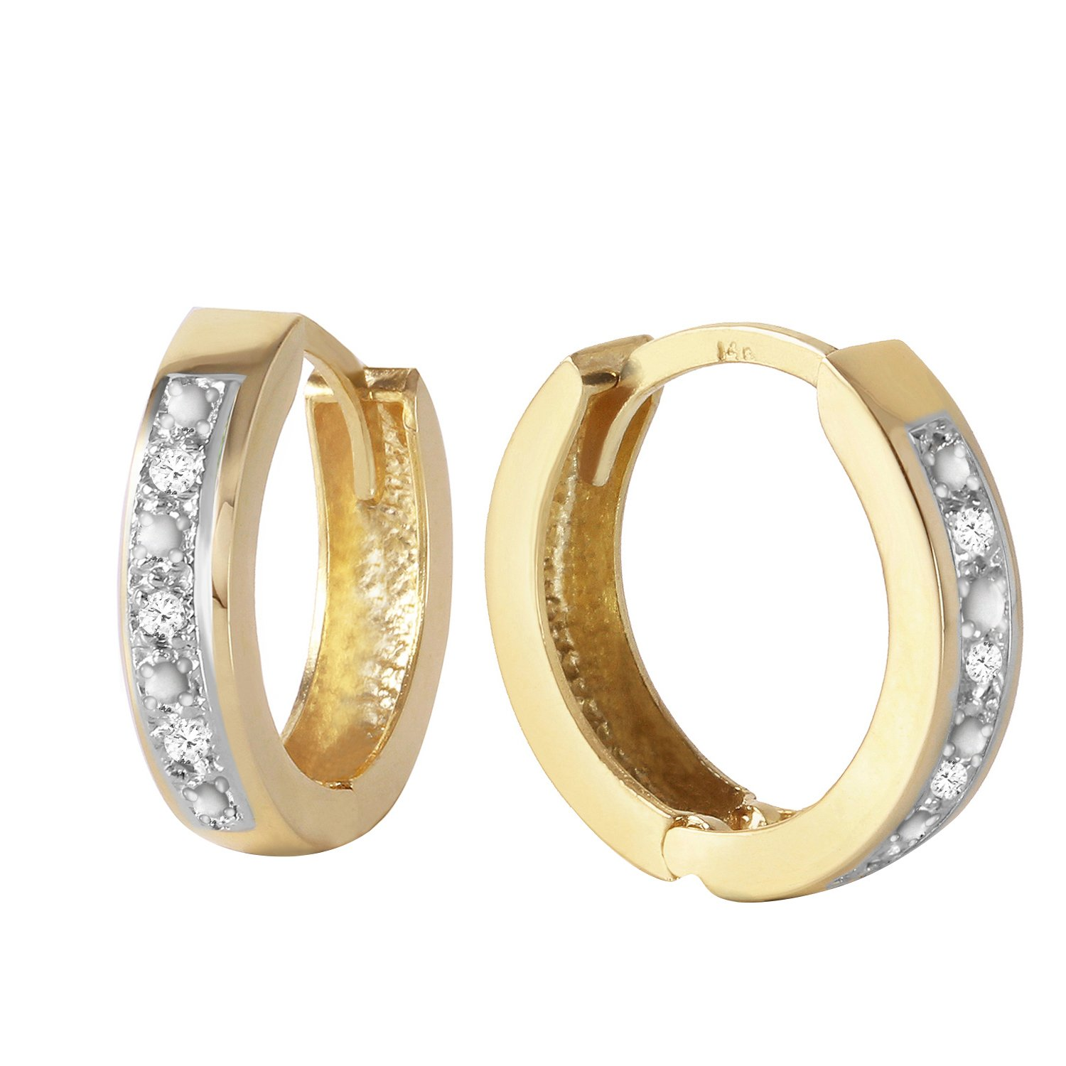 Galaxy Gold Genuine 14k Solid Yellow Gold Hoop Huggie Earrings with Stunning 0.04 Carat Natural Diamonds