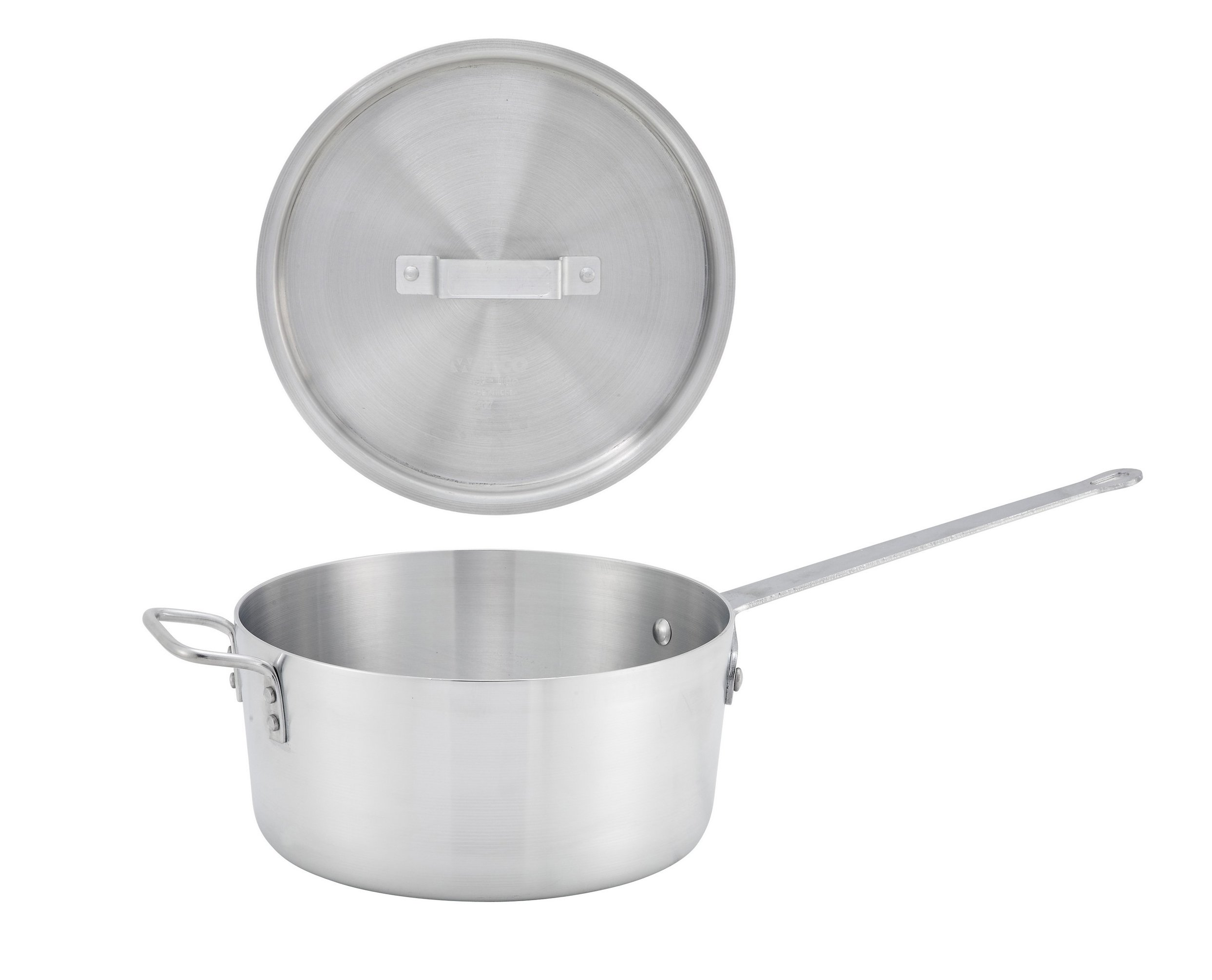 Winco ASP-10, 10-Quart 11-1/2'' x 5-3/4'' Aluminum Sauce Pan with Helper Handle and Matching Cover, Commercial Grade Stewpan with Lid, Saucepan with Metal Handle