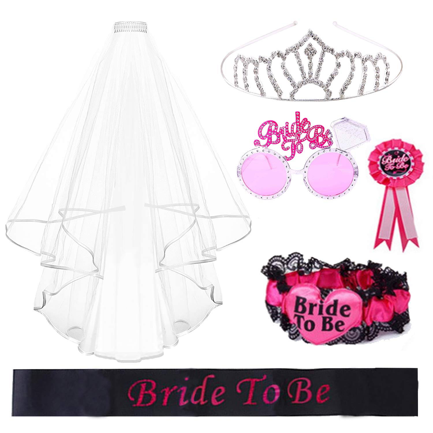 REKYO 6PCS Hen Night Party Accessories Bride To Be Sash, Sunglasses, Tiara Veil, Badge Garter Hen Do Party Stag Night Game Accessory Kit