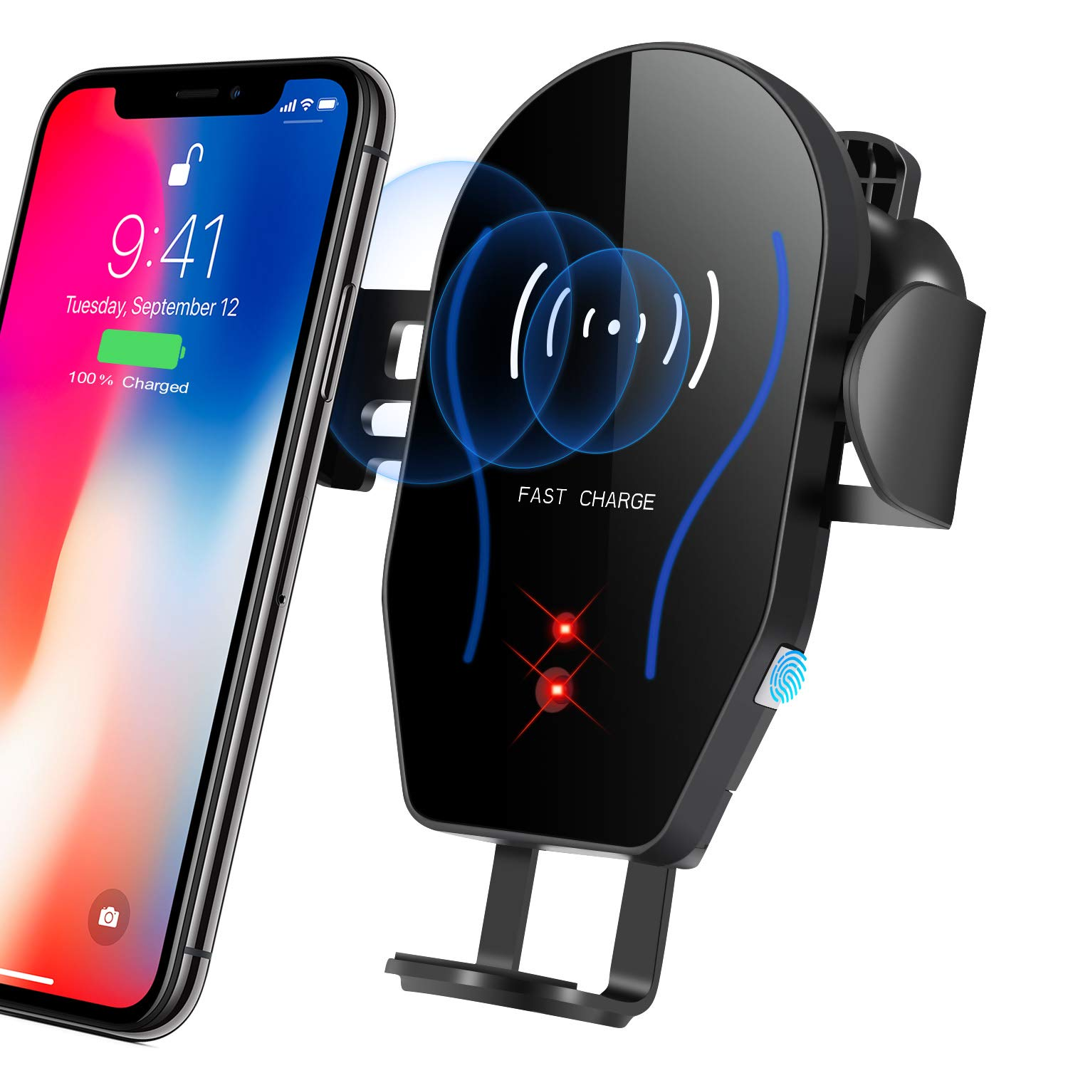 Phone Holder for Car,Car Phone Mount, Automatic Clamping Wireless Charging Car Mount Air Vent Cell Phone Holder Charger Car Mount Compatible with iPhone Xr Xs Max 8plus