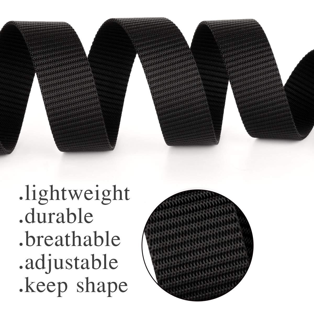 Drizzte Plus Size Belt 47-71 Long 1.25 Wide Mens Black Nylon Adjustable Belt for Dress Pants Loops