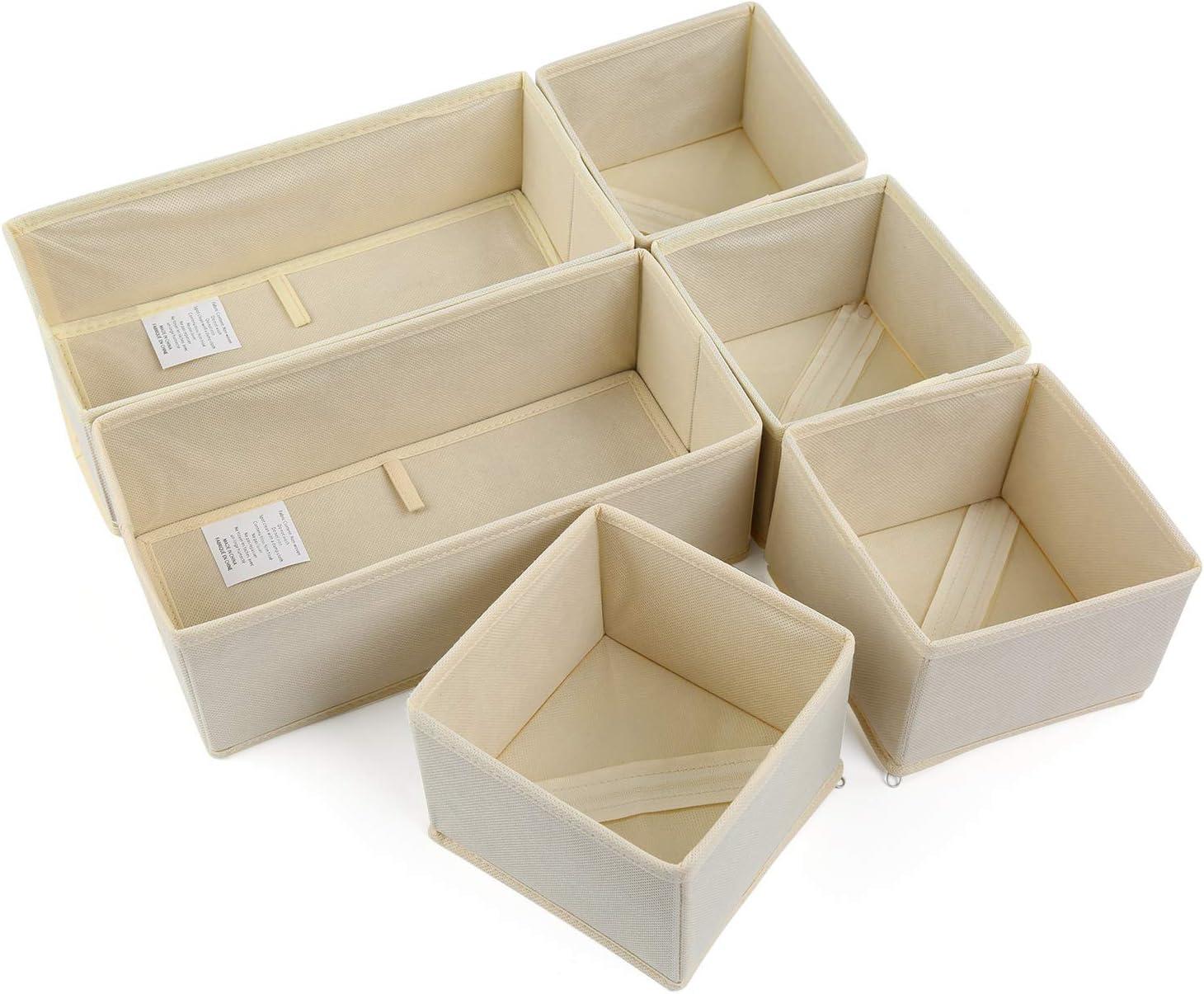 NEWSTYLE Organizadores de Cajones,Juego de 6 Cajas Organizadoras Plegables para Sujetadores Bragas Calcetines (Beige)