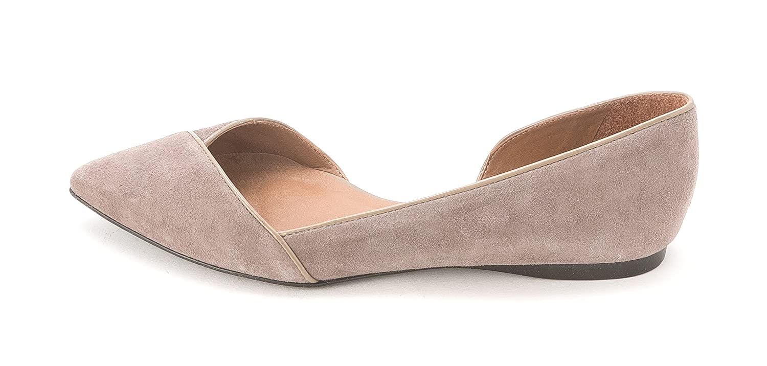 French Sole Women's Pyro Suede Half D'orsay Flats