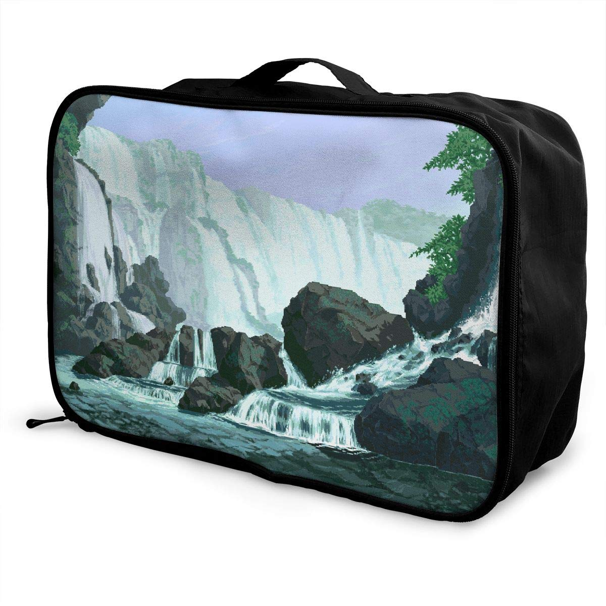 Travel Luggage Duffle Bag Lightweight Portable Handbag Waterfall Print Large Capacity Waterproof Foldable Storage Tote
