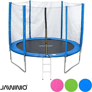 Jawinio Trampolin 305 Cm 10f Gartentrampolin Jumper Komplett Set Inkl Leiter Sicherheitsnetz Und Sprungmatte Grun Pink Oder Blau Blau Amazon De Sport Freizeit