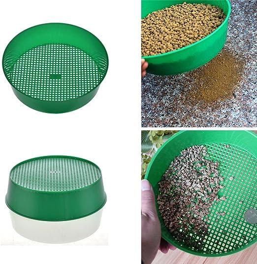Tamiz de jardín de plástico, colador de jardín, herramienta de mano para jardín, malla de tierra, color verde: Amazon.es: Hogar