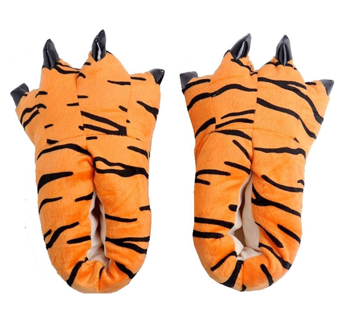 MILEEO Unisex Herbst Winter Tierhausschuhe Plüsch Hausschuhe Pantoffeln Kostüme Warme Puschen  Large|Tiger