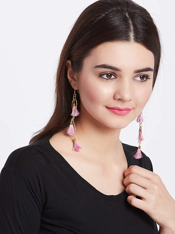 ZeroKaata/Fashion Jewellery Golden and Pink Tassel Western Handmade Earrings For Women /& Girls