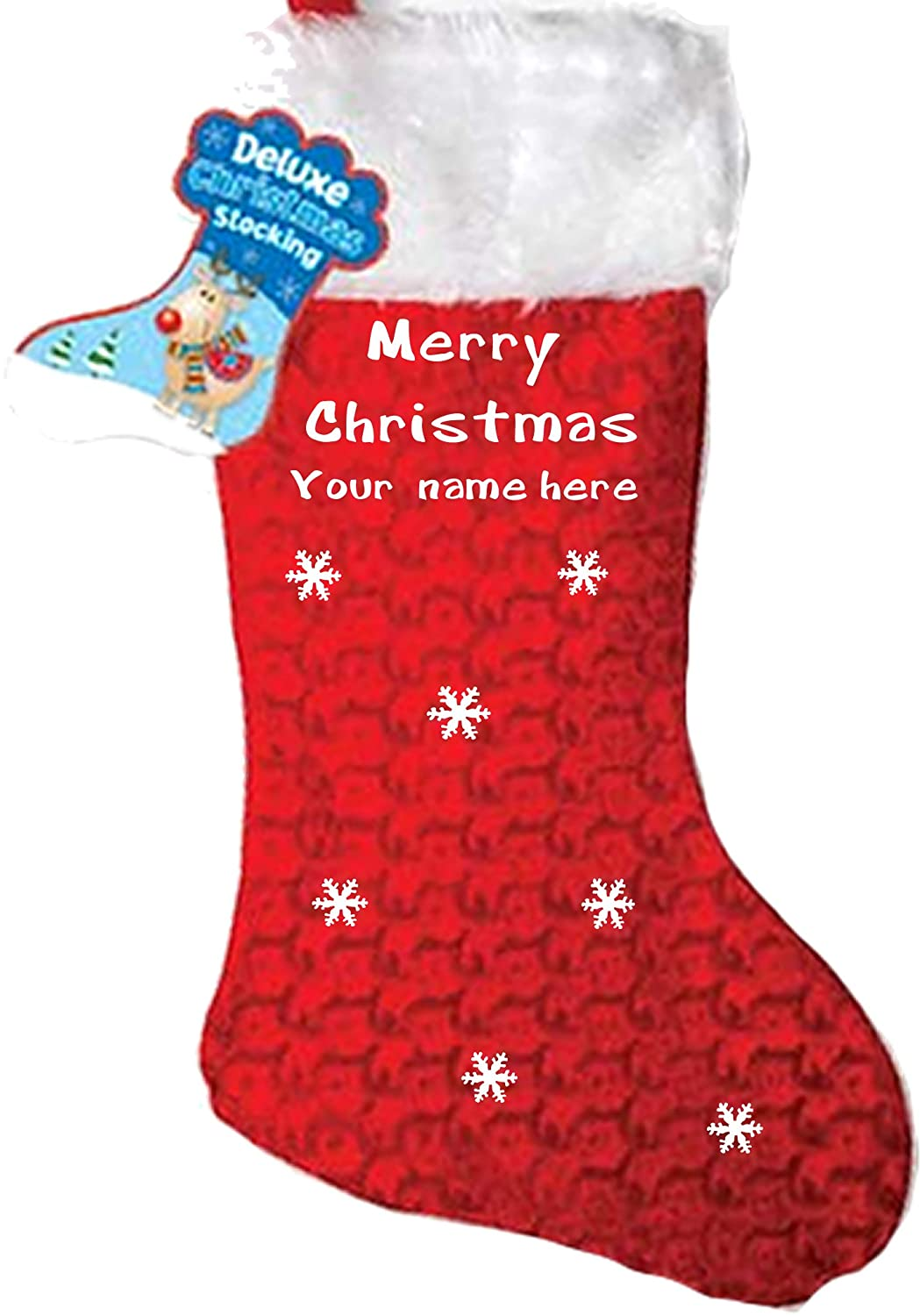 Personalised Stocking, Xmas........Merry Christmas * Your Name Here* Printed Personalized Stocking (Red)