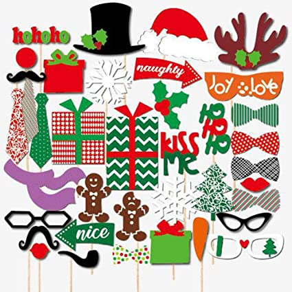 Funny Christmas Party Names.Adeeing 39pcs Set Christmas Party Photo Funny Glasses