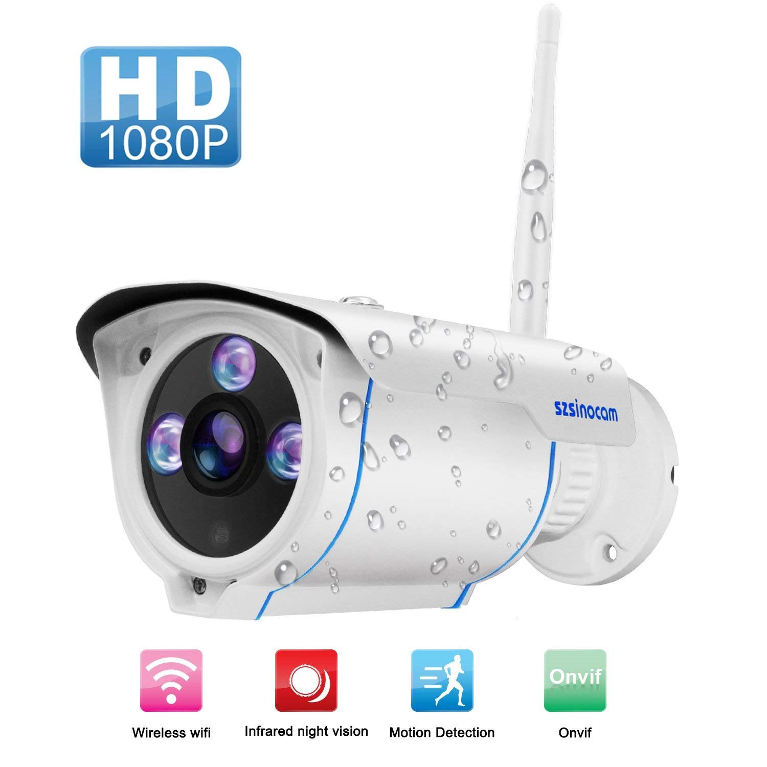 WIFI Camera Outdoor,SZSINOCAM Wireless Security Camera, Waterproof Surveillance CCTV Camera FHD 1080P Night Vision Bullet Cameras With Advanced chips Onvif Motion Detection IP Cameras Baby Monitor