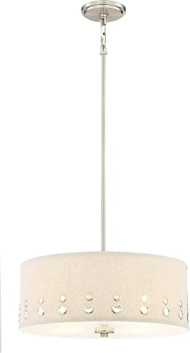 Quoizel LWS3233A1 Park Avenue Beige Linen Drum Pendant Ceiling Lighting, 4-Light, 400 Watts, Brushed Nickel 9 H x 18 W