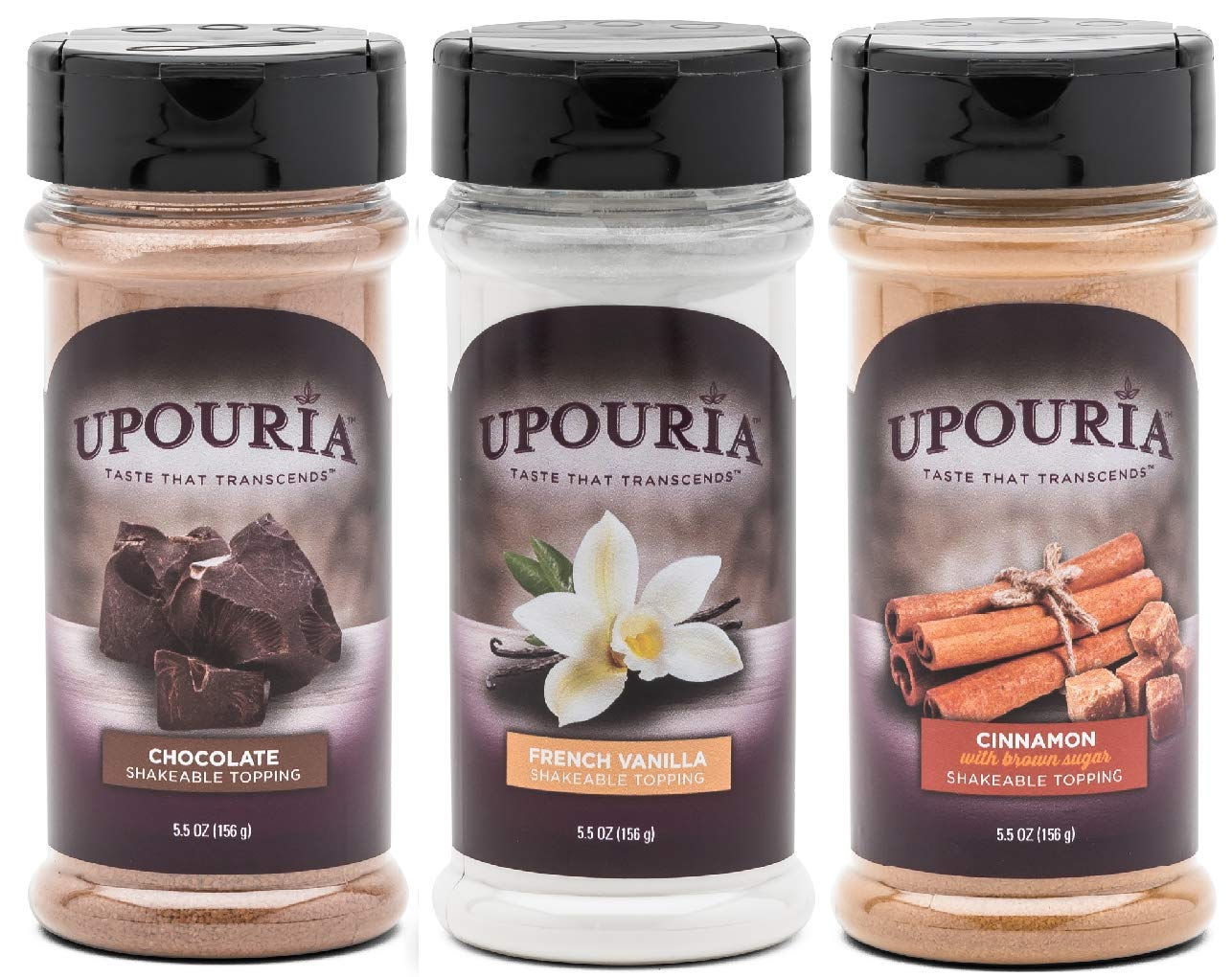 Upouria Coffee Topping Variety Pack - Chocolate, Cinnamon with Brown Sugar, and French Vanilla, 5.5 Ounce Shakeable Topping Jars - (Pack of 3)