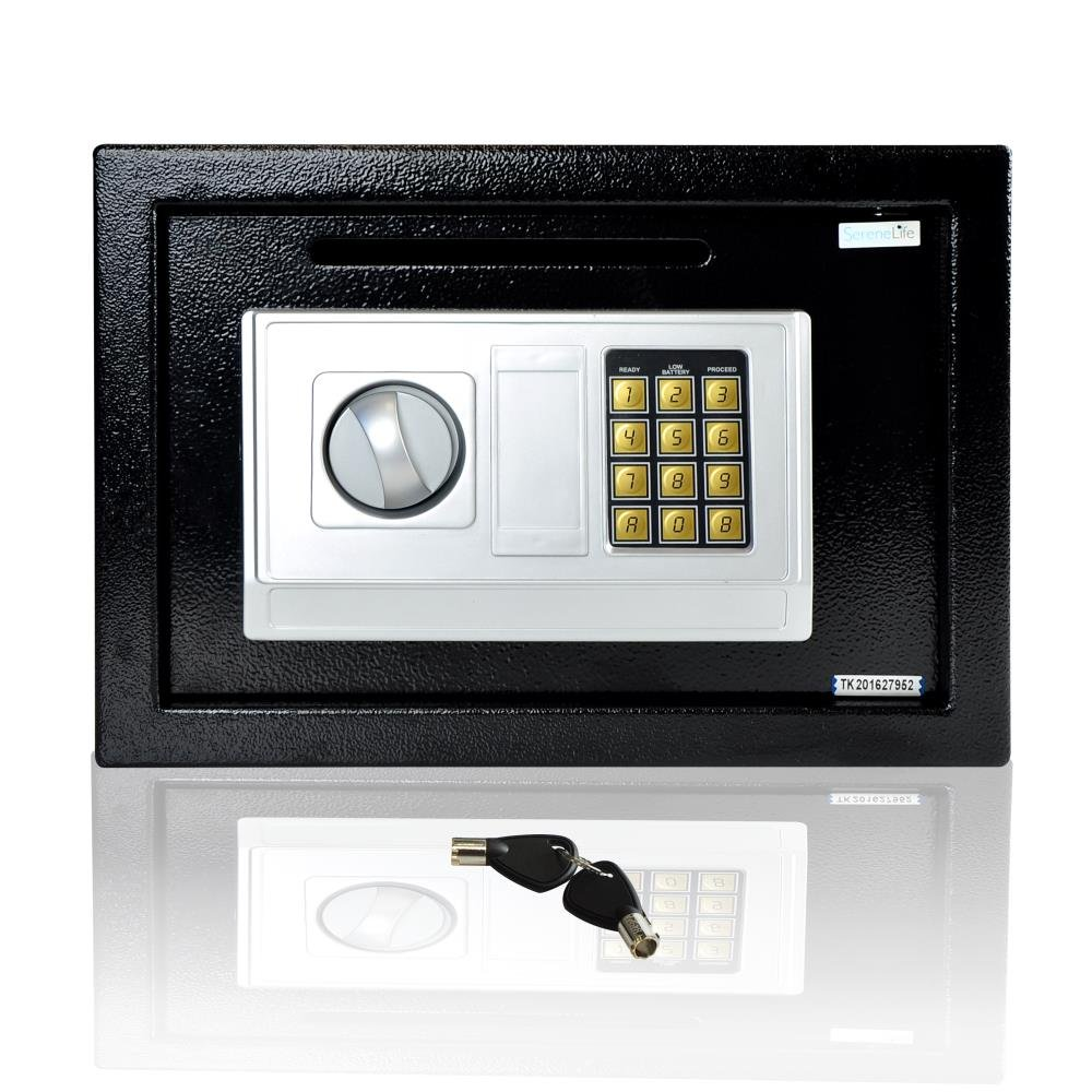 SereneLife Drop Box Safe Box | Safes & Lock Boxes | Front Loading Safe Cash Vault Drop Lock | Safe Security Box | Digital Safe Box | Money Safe Box | Steel Alloy Drop Safe Includes Keys (SLSFE342)
