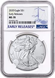 2020 - Silver Eagle Early Releases Label Dollar MS70 NGC